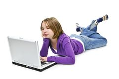 Girl with computer Stock Image