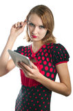 Girl and computer Stock Images