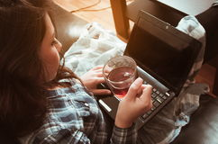 Girl with computer Royalty Free Stock Photos