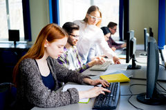 Girl in a computer class. A portrait of a girl college student in a computer class Stock Photo