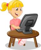 Girl and computer, vector Royalty Free Stock Photography