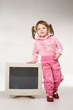 Girl with computer monitor Royalty Free Stock Image