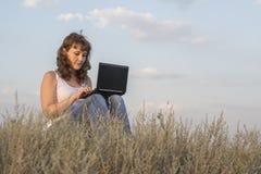 Girl computer Stock Photo