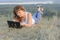 Girl computer Royalty Free Stock Photos