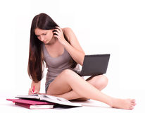 Girl with computer PC and books. Beautiful student girl with computer PC and books royalty free stock image