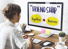 Girl Computer Positivity companionship Concept Royalty Free Stock Images