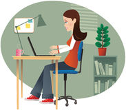 Girl computing in home office Stock Photography