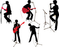 Girl on a concert vector silhouette Stock Photography