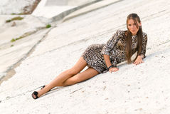 Girl on a concrete slope Stock Photo