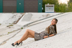 Girl on a concrete slope Royalty Free Stock Photos