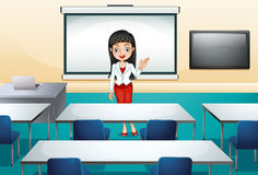 A girl in a conference room Royalty Free Stock Images