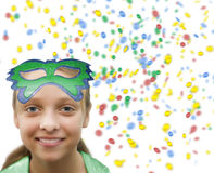 Girl in confetti  on white Royalty Free Stock Photos