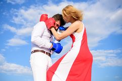 Girl confident in strength power. Struggle equality rights. Gender domination concept. Learn how to defend yourself. She. Knows how to defend herself. Man and royalty free stock images