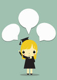 Girl congratulate box. Graduate girl and thinking box on blue background Stock Images