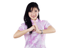 A girl congratulate chinese new year Royalty Free Stock Images