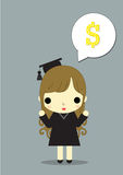 Girl congratulate money. Graduate girl thinking about  now i can make money Royalty Free Stock Photos