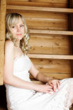 Girl with contempt emotions. Portrait of young blond woman with contempt emotions Stock Photos