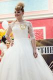 Girl contestant wedding hairstyle. ORENBURG - 6 December: Girl contestant wedding hairstyle 6 December 2014 in ORENBURG, ORENBURG region, RUSSIA Stock Photos