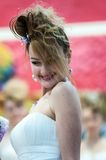 Girl contestant wedding hairstyle. ORENBURG - 6 December: Girl contestant wedding hairstyle 6 December 2014 in ORENBURG, ORENBURG region, RUSSIA Royalty Free Stock Photography