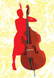 The girl with a contrabass. The girl playing on a contrabass. A vector illustration. Grunge a background Vector Illustration