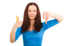 Girl with contraceptive. Young woman with yellow condoms isolated Royalty Free Stock Photography