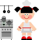 Girl cook. A girl prepares food on a gas cooker Stock Images