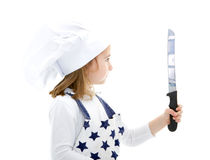 Girl cook chef with kitchen knife Stock Photography