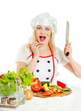 Girl cook emotional Royalty Free Stock Image