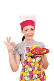 Girl cook with spaghetti and ok hand sign Stock Photo