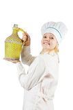 Girl cook whith container Royalty Free Stock Image