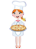Girl Cook With Pizza Stock Photos