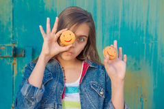 Girl and cookies. Stock Images