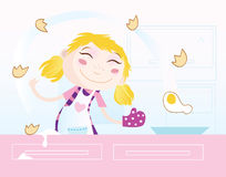 Girl is cooking stock illustration