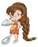 Girl cooking royalty free illustration