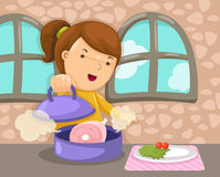 Girl cooking. Illustration of cartoon girl cooking Royalty Free Stock Images