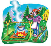 Girl cooking on campfire. Illustration Royalty Free Stock Photo