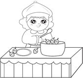 Girl cooking coloring page Royalty Free Stock Photography