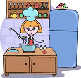 A girl cooking dinner on the kitchen Vector cartoon illustration Royalty Free Stock Photos