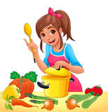 Girl with is cooking with several vegetables Stock Photos