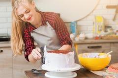 Girl cooking sweet dessert. Culinary masterclass. Stock Photos