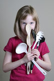 Girl with Cooking utensils Stock Photos