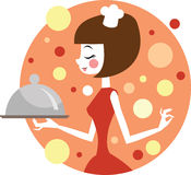 Girl cooking vector illustration