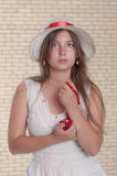 The girl with a coral beads Stock Photo