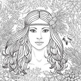 Girl among the corals coloring page. Hand drawn girl  among the corals and swimming fishes. Black and white illustration coloring page for adult. Monochrome face Royalty Free Stock Photography