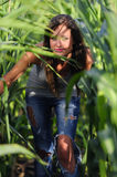 Girl in corn Stock Photo