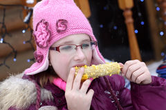 Girl with corn Royalty Free Stock Photo