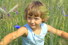 Girl in a corn field. A little girl walking on the grain. Season for Allergies Stock Photography