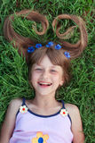 Girl with cornflowers in her hair emotional lauging Royalty Free Stock Photos