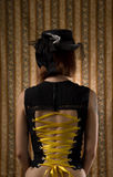 Girl in corset and vintage hat with veil Stock Photos
