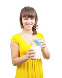 Girl with cosmetic container. Girl with white cosmetic container, isolated on white royalty free stock photography